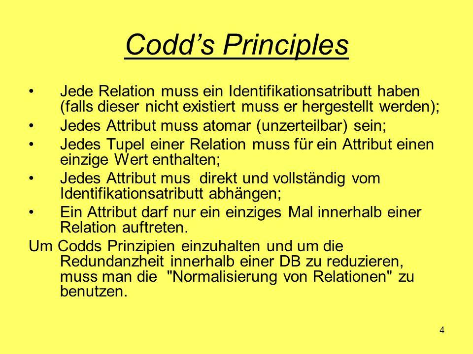 Codd's Principles Jede Relation muss ein Identifikationsatributt haben (falls dieser nicht existiert muss er hergestellt werden);
