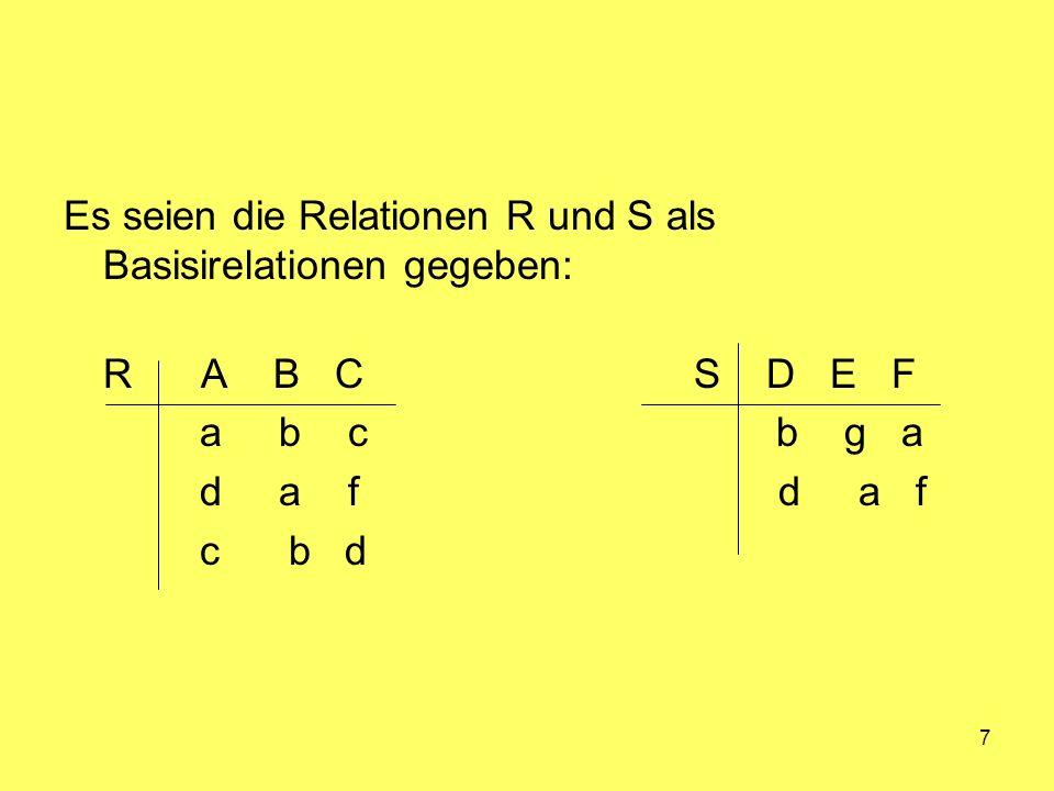Es seien die Relationen R und S als Basisirelationen gegeben: