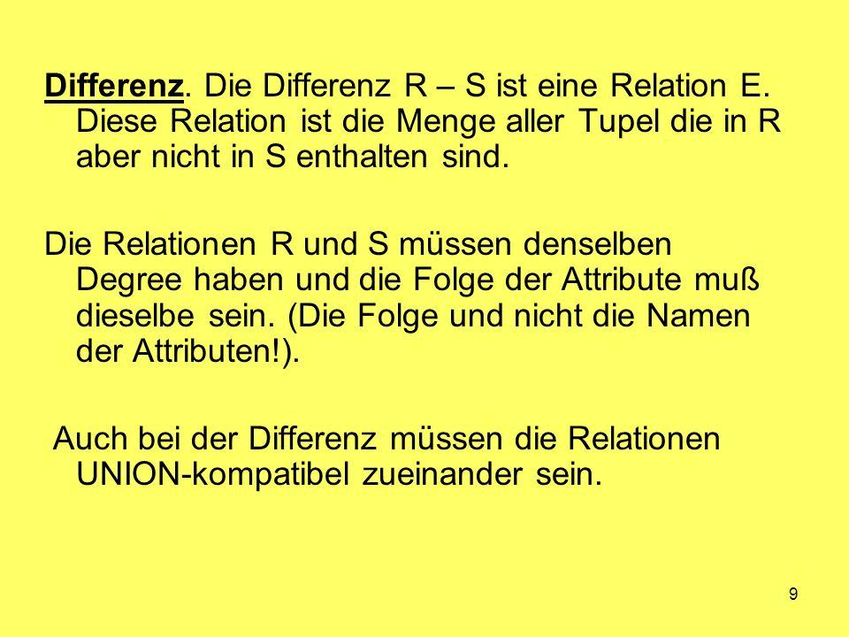 Differenz. Die Differenz R – S ist eine Relation E