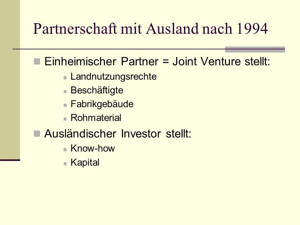 Partnerschaft mit Ausland nach 1994
