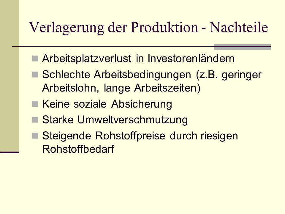 Verlagerung der Produktion - Nachteile