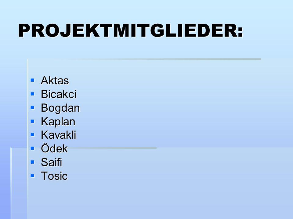 PROJEKTMITGLIEDER: Aktas Bicakci Bogdan Kaplan Kavakli Ödek Saifi
