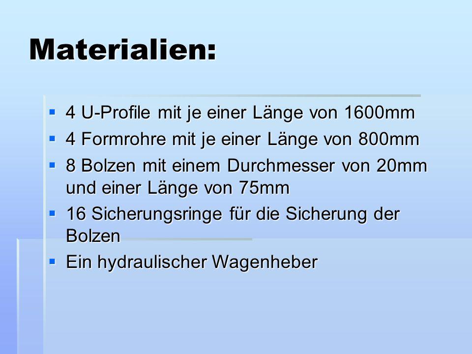 Materialien: 4 U-Profile mit je einer Länge von 1600mm