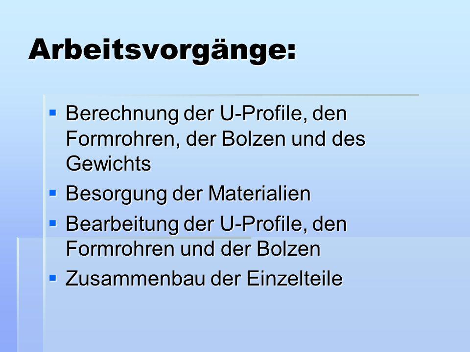 Arbeitsvorgänge: Berechnung der U-Profile, den Formrohren, der Bolzen und des Gewichts. Besorgung der Materialien.