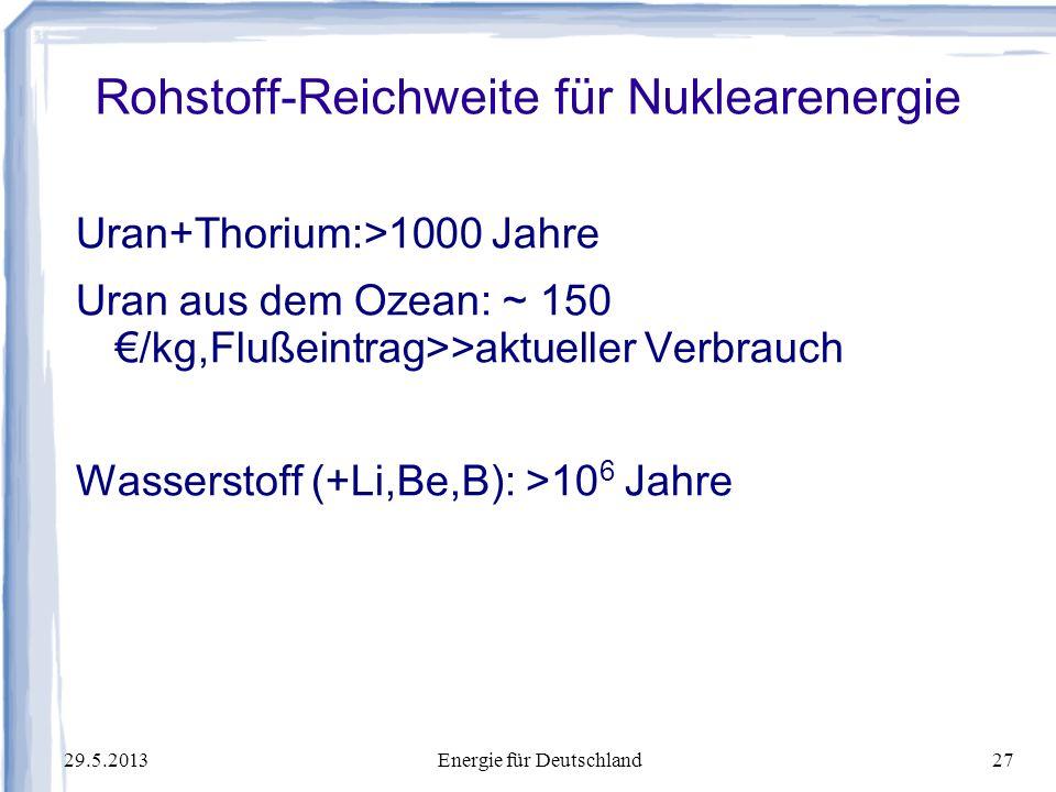 Rohstoff-Reichweite für Nuklearenergie