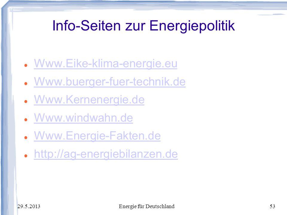 Info-Seiten zur Energiepolitik