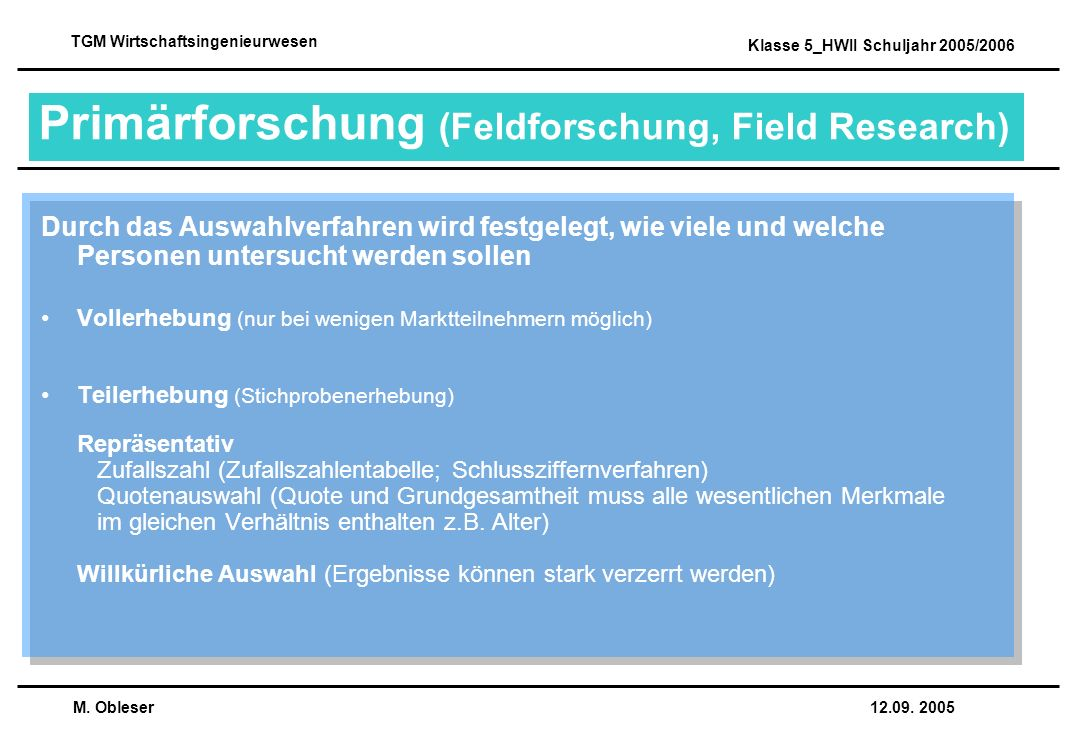 Primärforschung (Feldforschung, Field Research)
