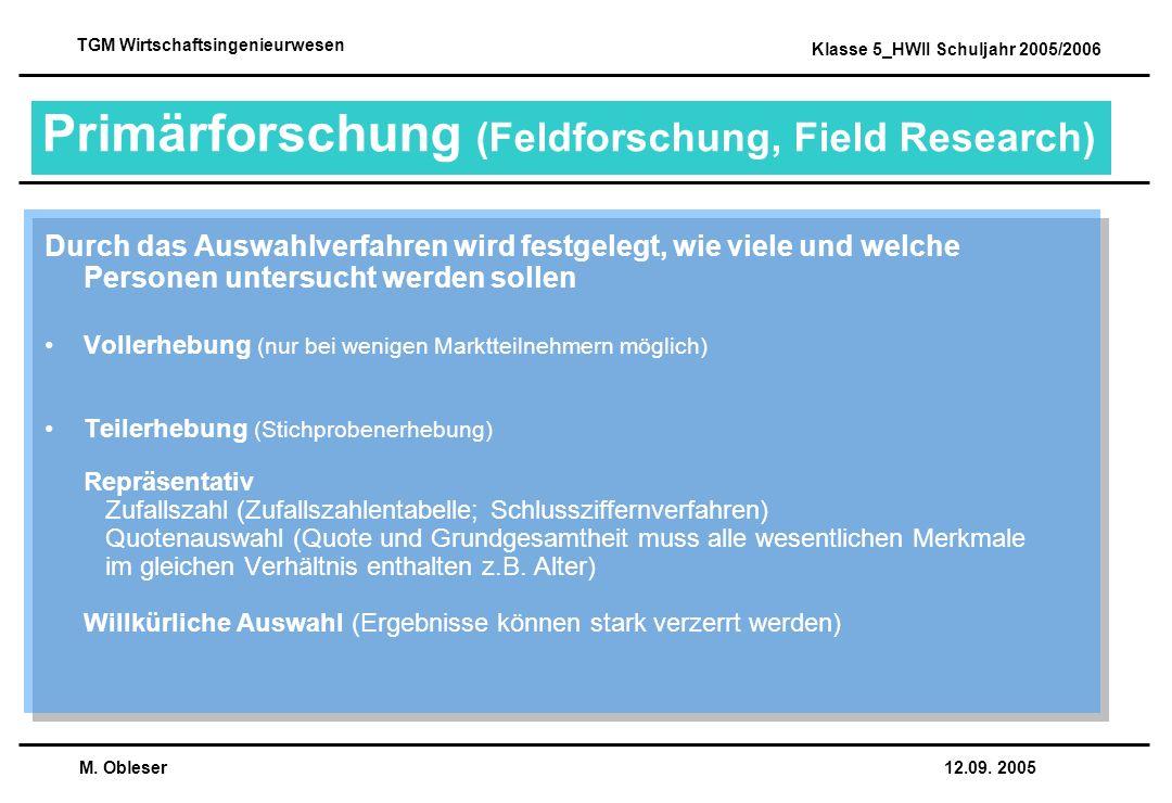 Primärforschung (Feldforschung, Field Research)