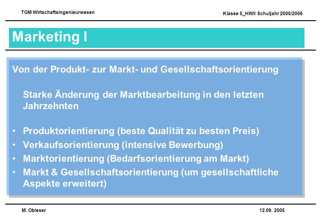 Marketing I Von der Produkt- zur Markt- und Gesellschaftsorientierung