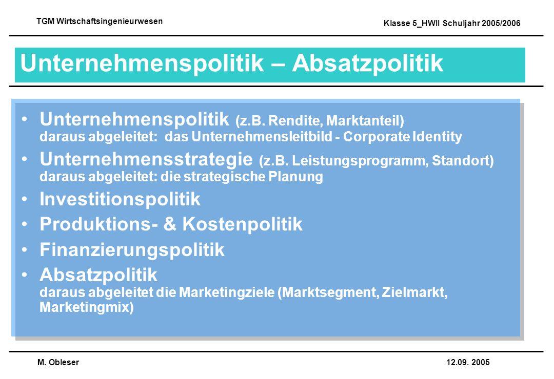 Unternehmenspolitik – Absatzpolitik