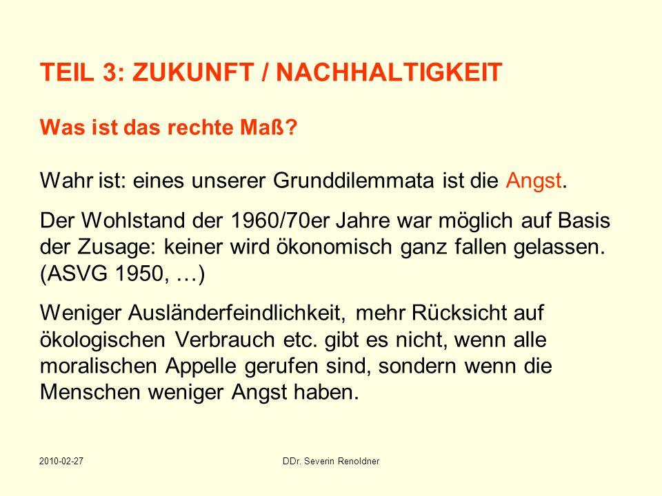TEIL 3: ZUKUNFT / NACHHALTIGKEIT Was ist das rechte Maß