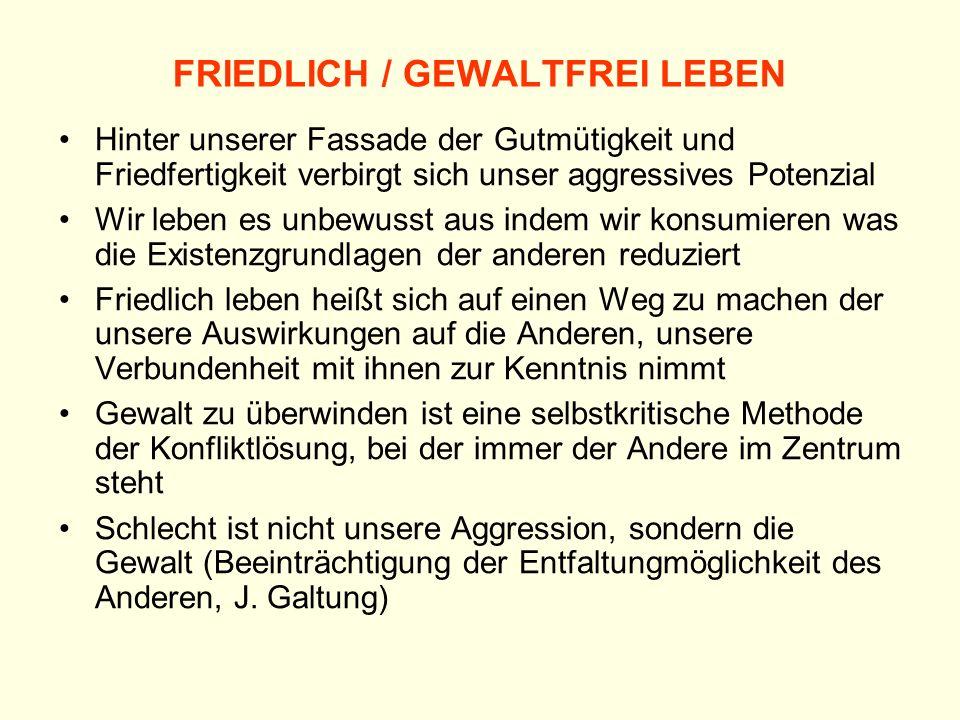 FRIEDLICH / GEWALTFREI LEBEN