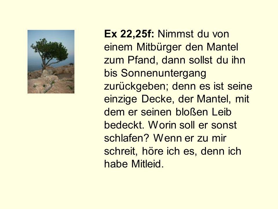 Ex 22,25f: Nimmst du von einem Mitbürger den Mantel zum Pfand, dann sollst du ihn bis Sonnenuntergang zurückgeben; denn es ist seine einzige Decke, der Mantel, mit dem er seinen bloßen Leib bedeckt.