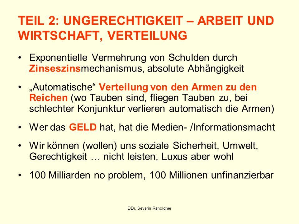 TEIL 2: UNGERECHTIGKEIT – ARBEIT UND WIRTSCHAFT, VERTEILUNG
