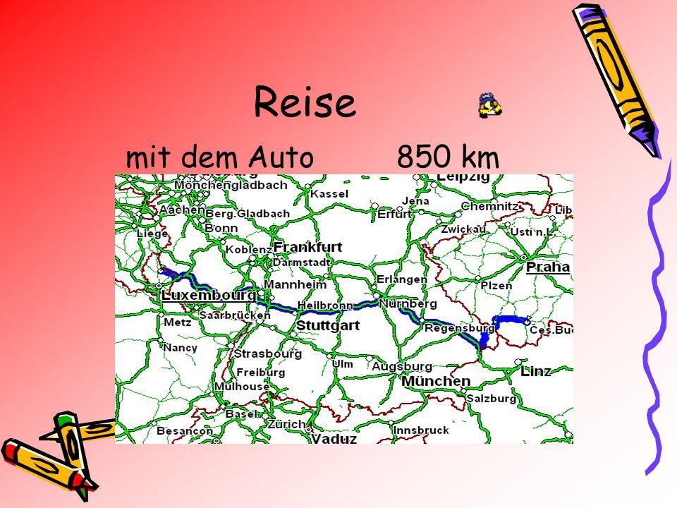 Reise mit dem Auto 850 km
