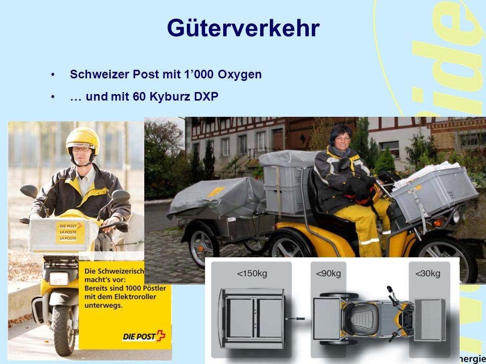 Güterverkehr Schweizer Post mit 1'000 Oxygen … und mit 60 Kyburz DXP