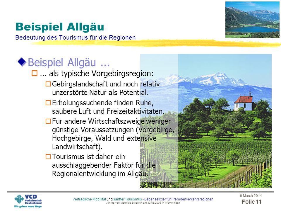 Beispiel Allgäu Bedeutung des Tourismus für die Regionen
