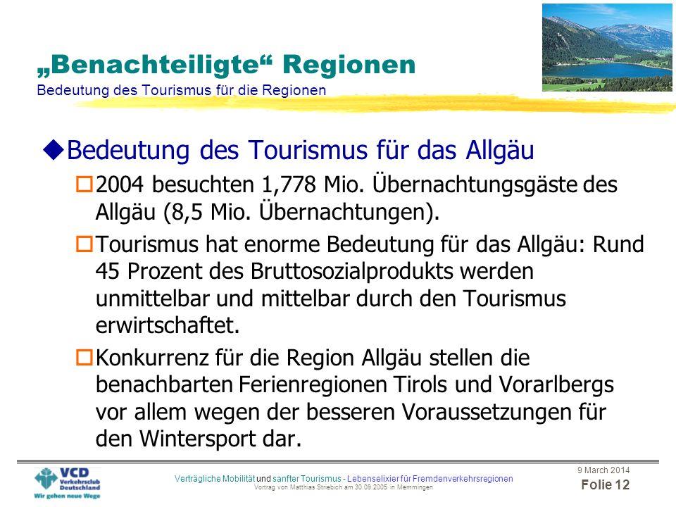 """""""Benachteiligte Regionen Bedeutung des Tourismus für die Regionen"""