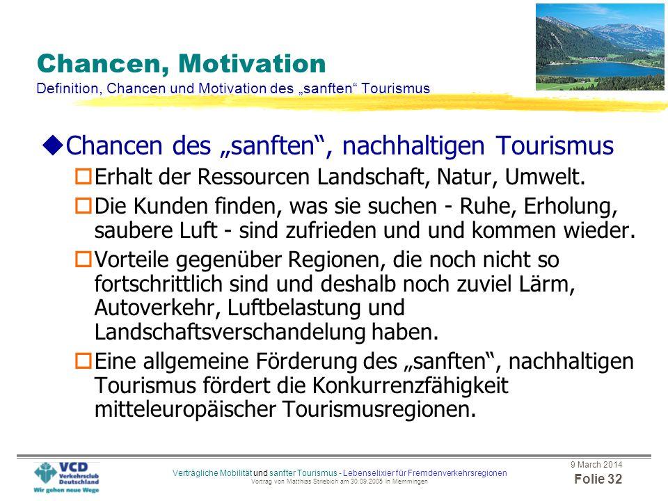 """Chancen des """"sanften , nachhaltigen Tourismus"""