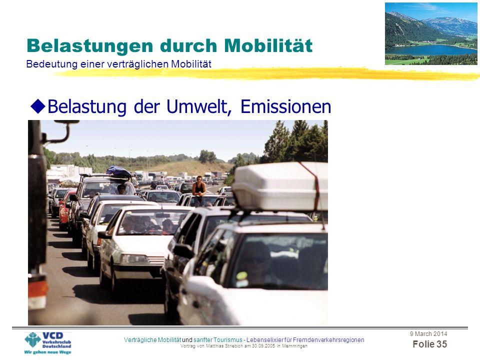 Belastungen durch Mobilität Bedeutung einer verträglichen Mobilität