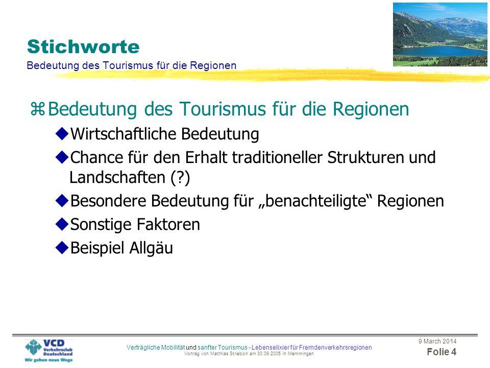 Stichworte Bedeutung des Tourismus für die Regionen