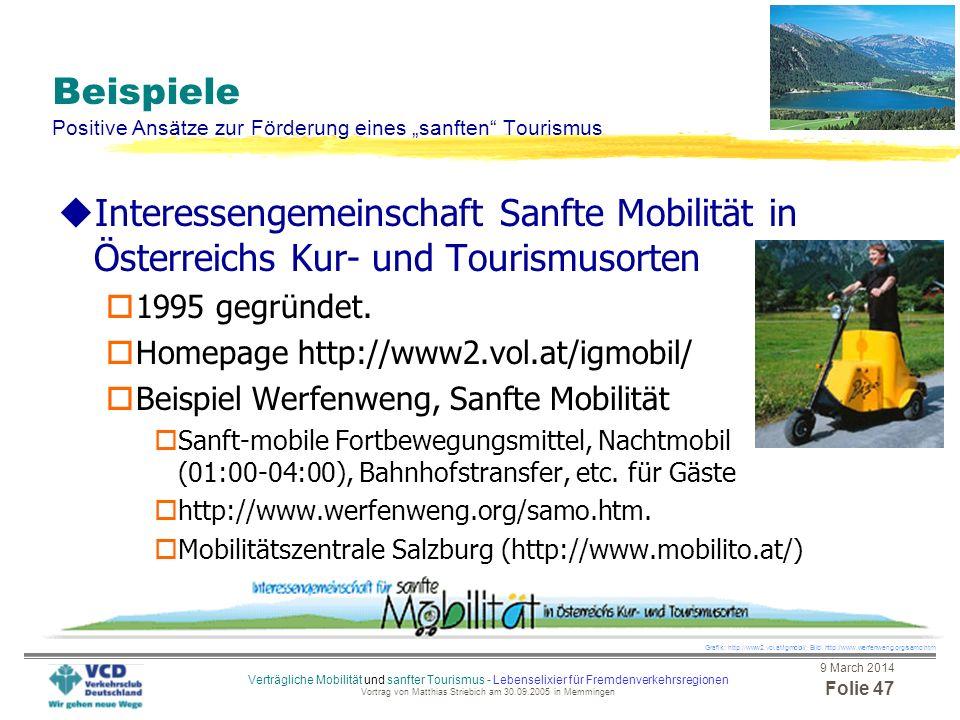 """Beispiele Positive Ansätze zur Förderung eines """"sanften Tourismus"""