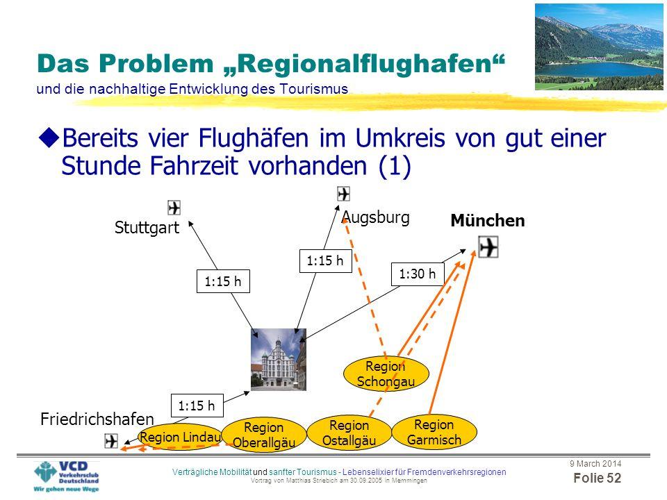 """Das Problem """"Regionalflughafen und die nachhaltige Entwicklung des Tourismus"""