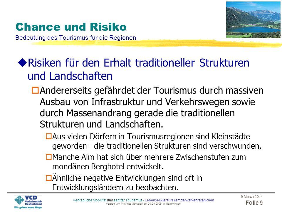 Chance und Risiko Bedeutung des Tourismus für die Regionen
