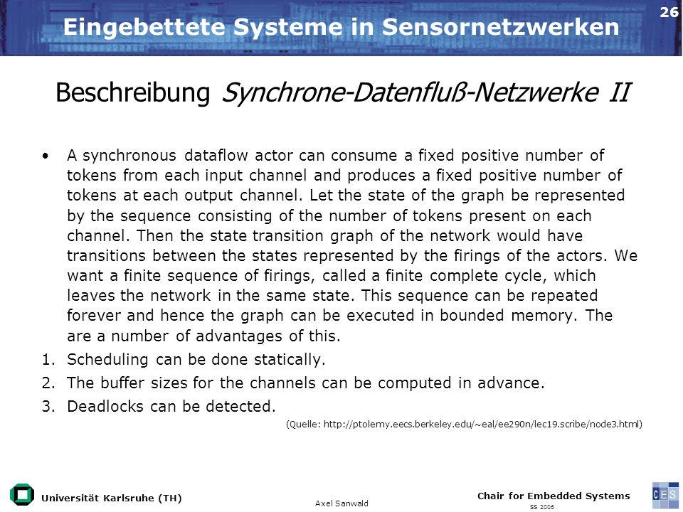Beschreibung Synchrone-Datenfluß-Netzwerke II