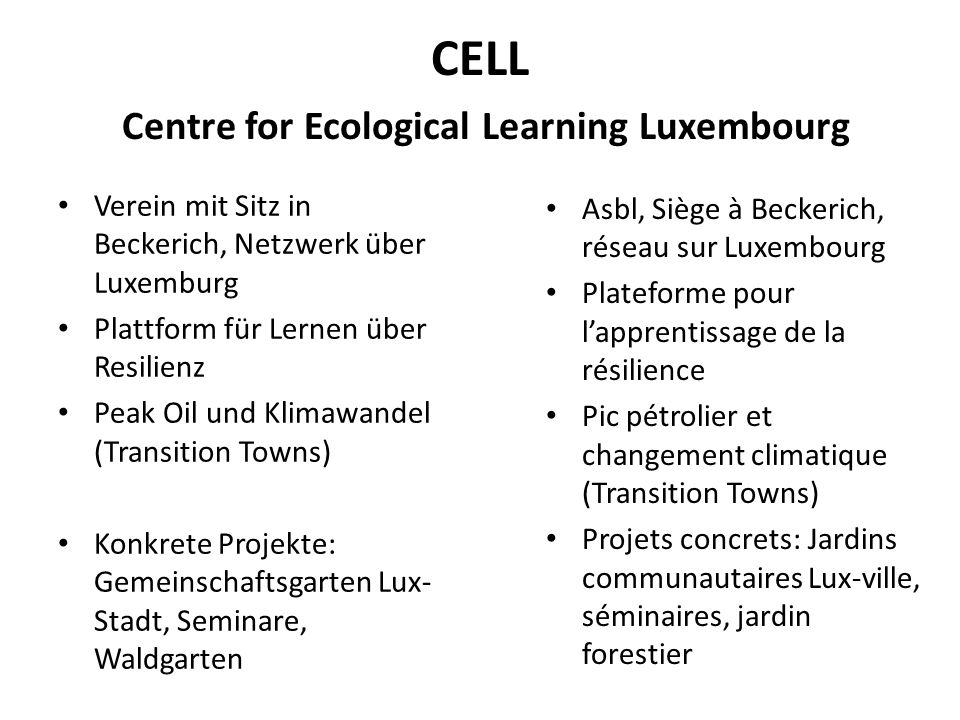 CELL Centre for Ecological Learning Luxembourg
