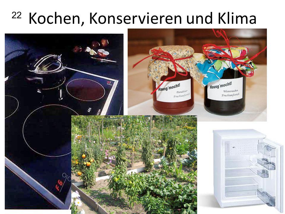Kochen, Konservieren und Klima