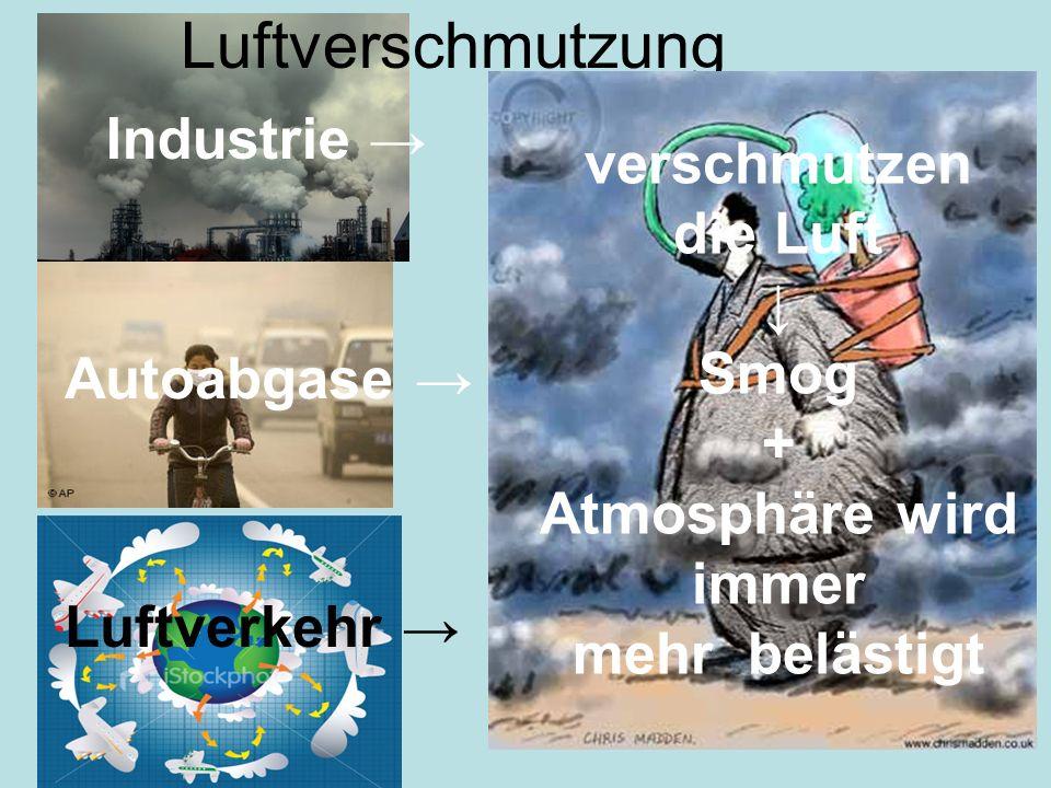 Luftverschmutzung Industrie → verschmutzen die Luft ↓ Smog +