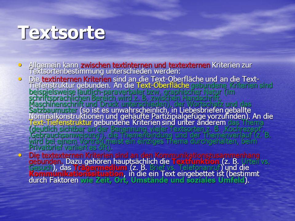 Textsorte Allgemein kann zwischen textinternen und textexternen Kriterien zur Textsortenbestimmung unterschieden werden: