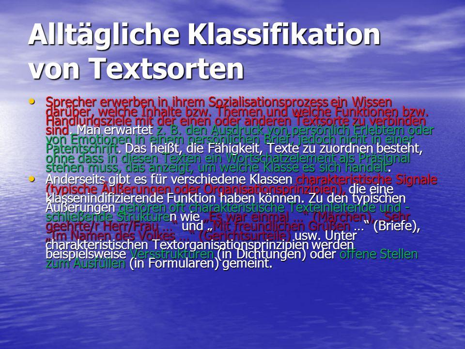 Alltägliche Klassifikation von Textsorten