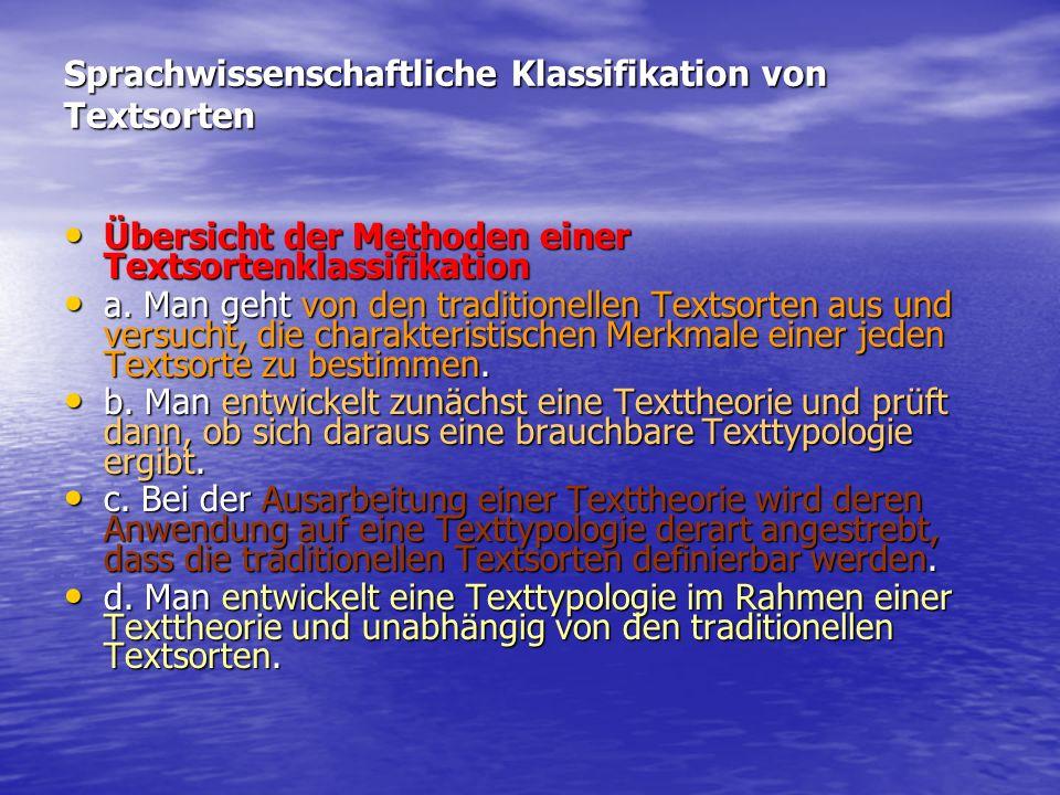 Sprachwissenschaftliche Klassifikation von Textsorten