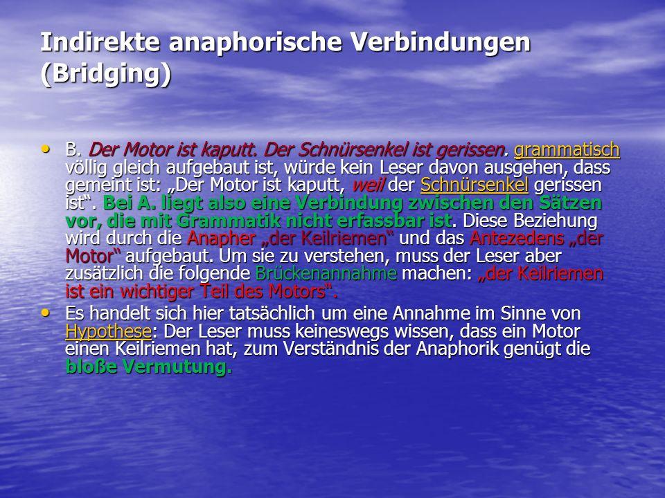 Indirekte anaphorische Verbindungen (Bridging)