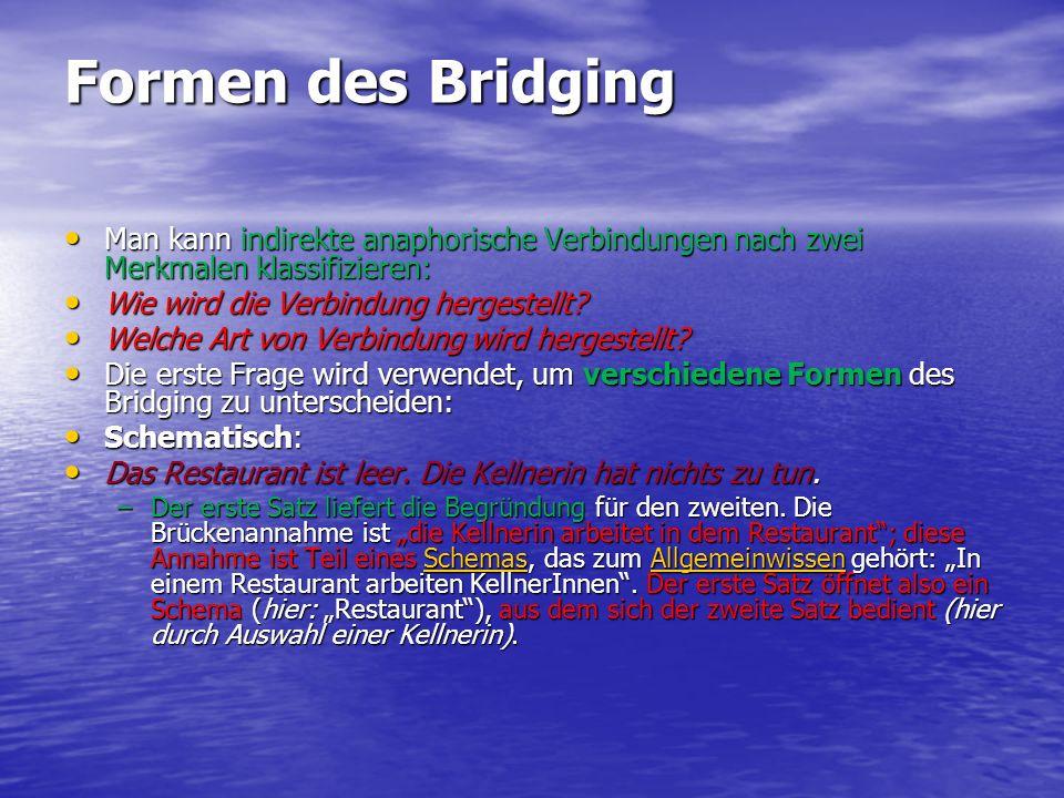 Formen des Bridging Man kann indirekte anaphorische Verbindungen nach zwei Merkmalen klassifizieren:
