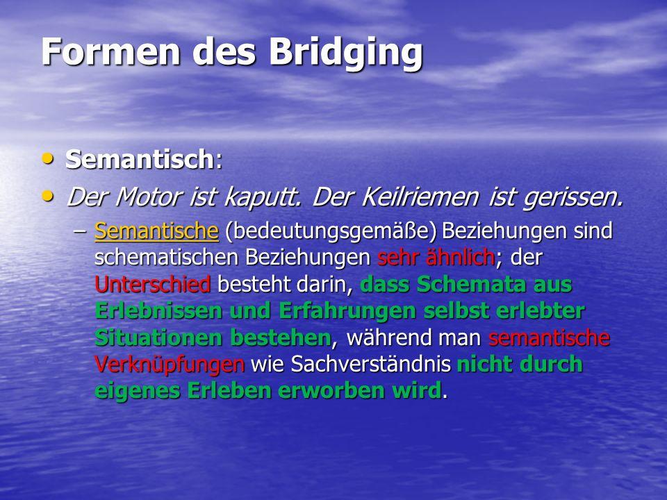 Formen des Bridging Semantisch: