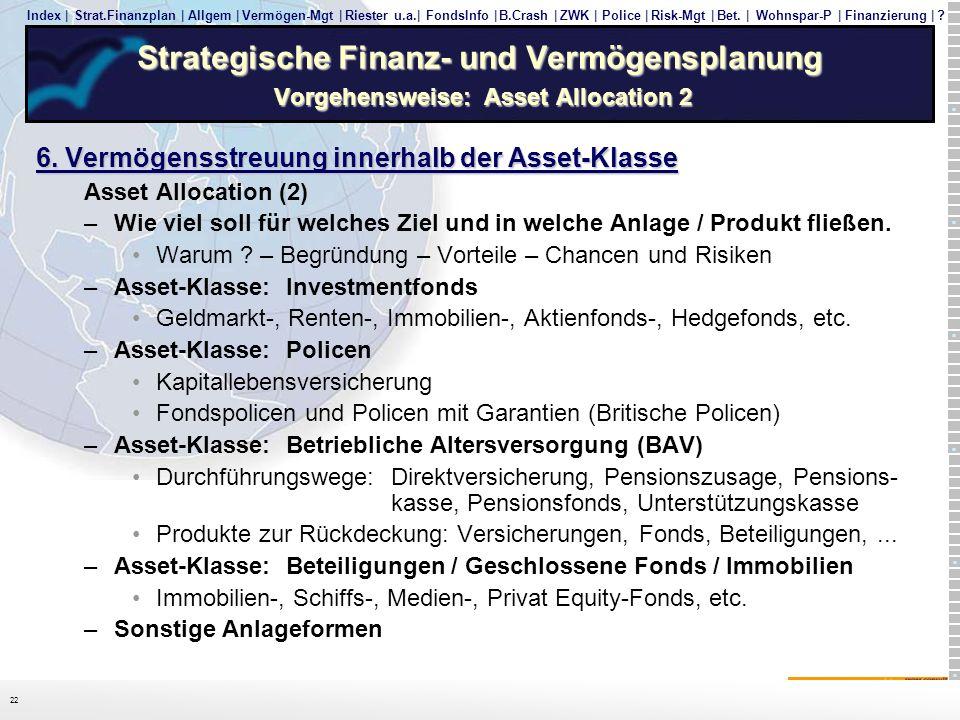 Strategische Finanz- und Vermögensplanung Vorgehensweise: Asset Allocation 2