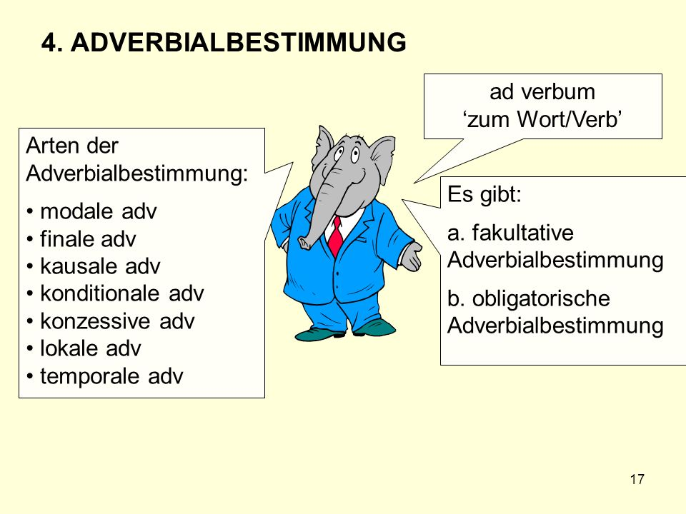 4. ADVERBIALBESTIMMUNG ad verbum 'zum Wort/Verb'