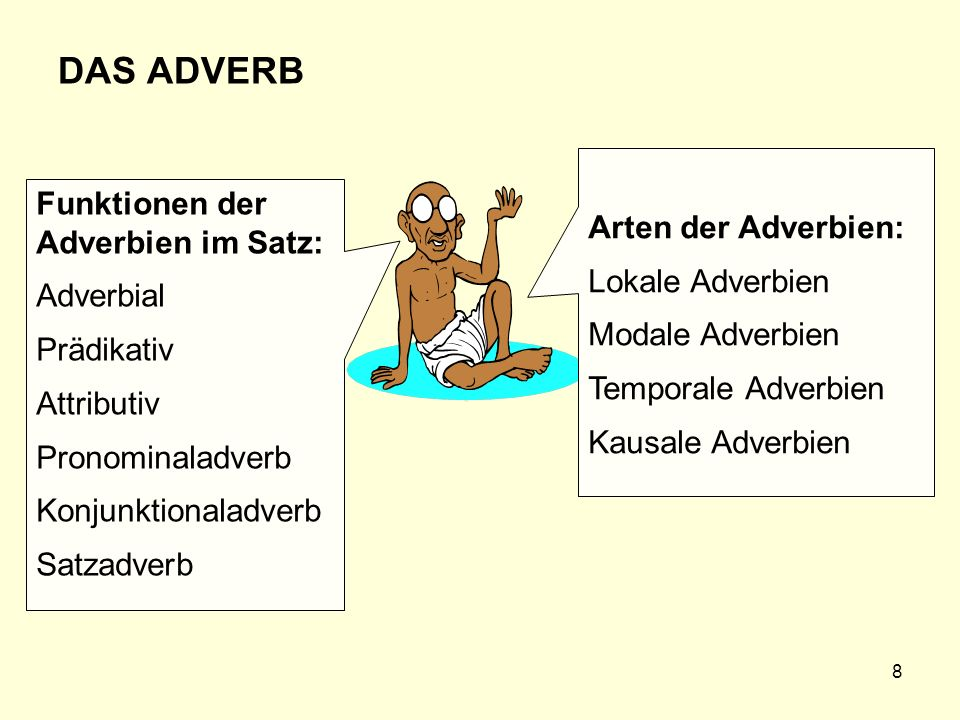 DAS ADVERB Arten der Adverbien: Funktionen der Adverbien im Satz: