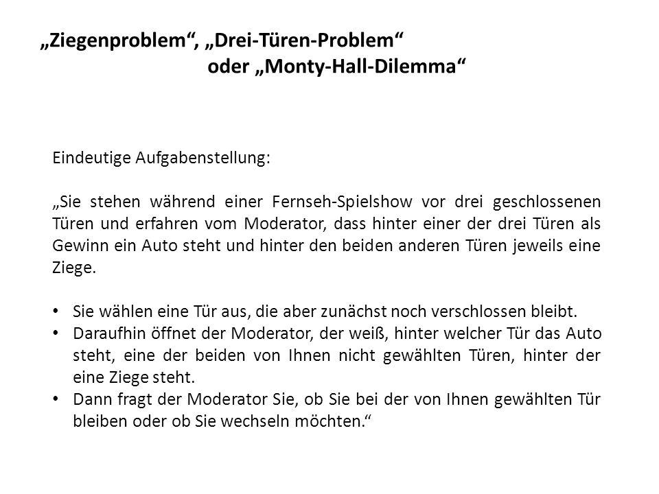 """""""Ziegenproblem , """"Drei-Türen-Problem oder """"Monty-Hall-Dilemma"""