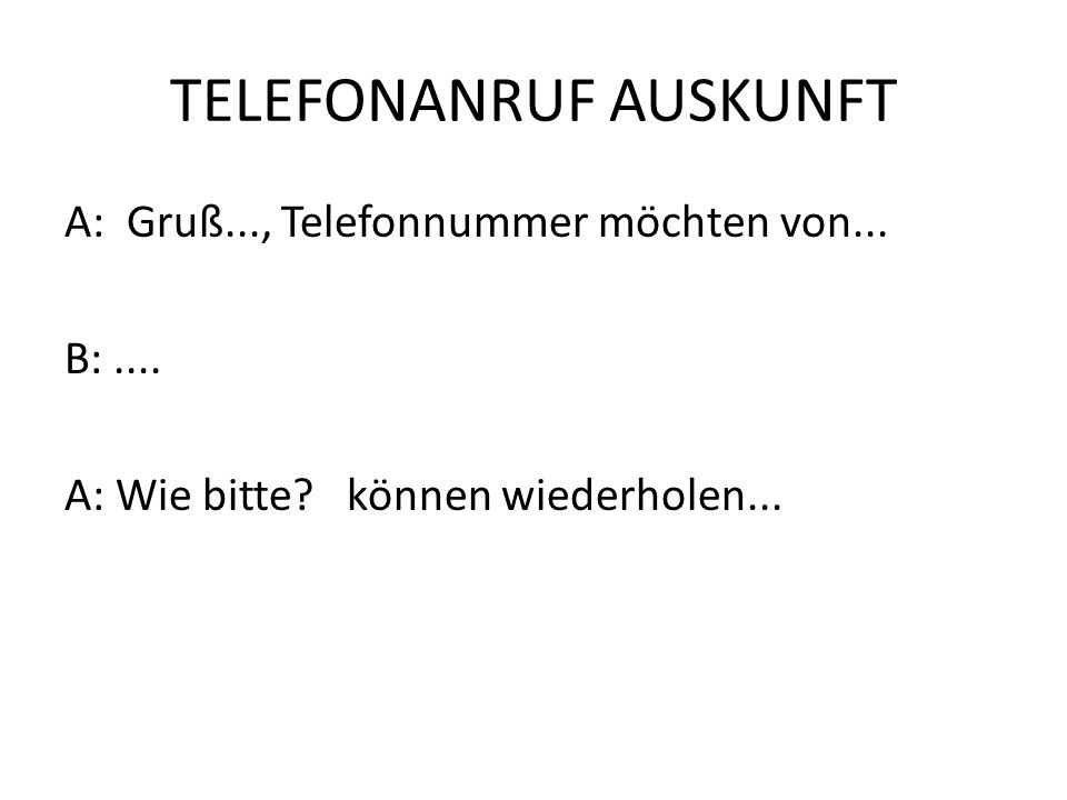 TELEFONANRUF AUSKUNFT