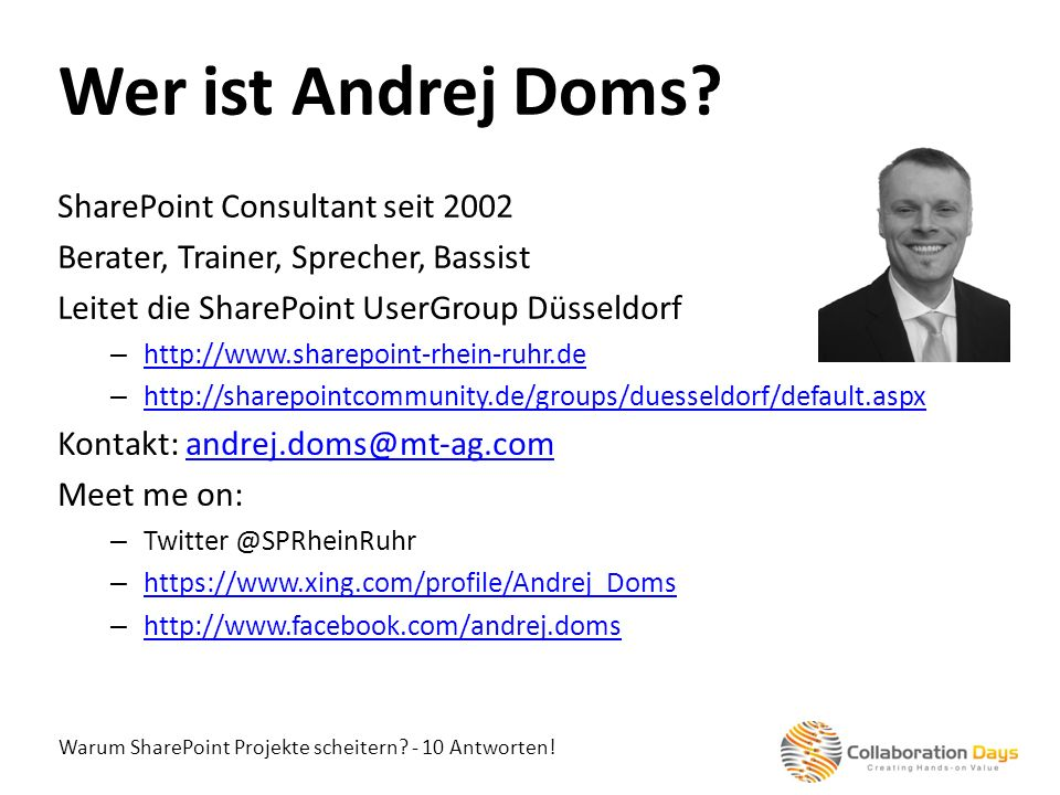 Wer ist Andrej Doms SharePoint Consultant seit 2002