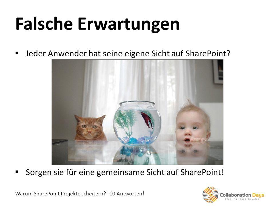 Falsche Erwartungen Jeder Anwender hat seine eigene Sicht auf SharePoint Sorgen sie für eine gemeinsame Sicht auf SharePoint!