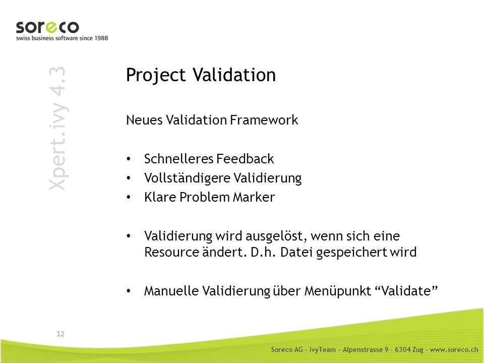 Xpert.ivy 4.3 Project Validation Neues Validation Framework