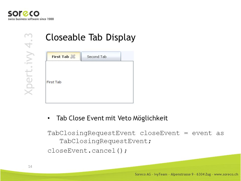 Xpert.ivy 4.3 Closeable Tab Display