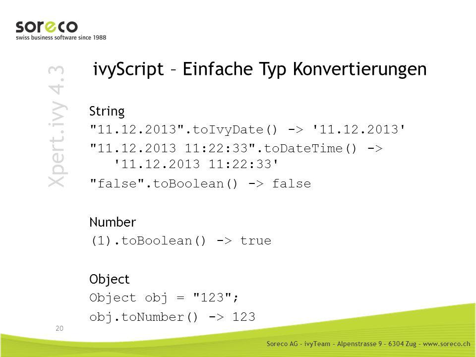 ivyScript – Einfache Typ Konvertierungen
