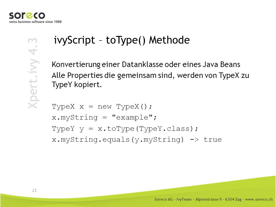 ivyScript – toType() Methode