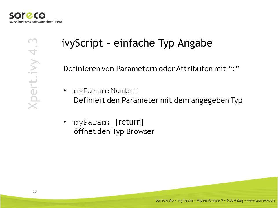 ivyScript – einfache Typ Angabe